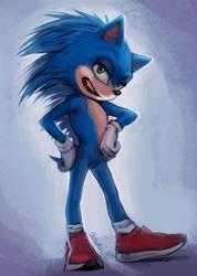 Movie Sonic Redesign (Full Body Version) by Skrollan95