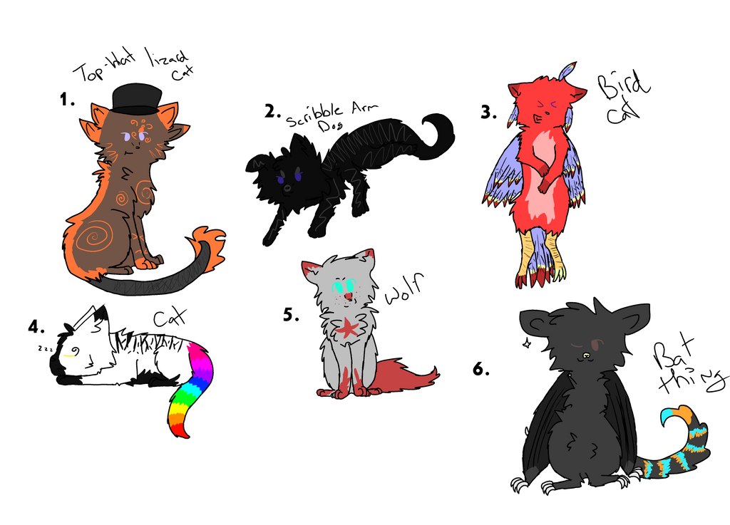 Adoptables! by AnamayCat