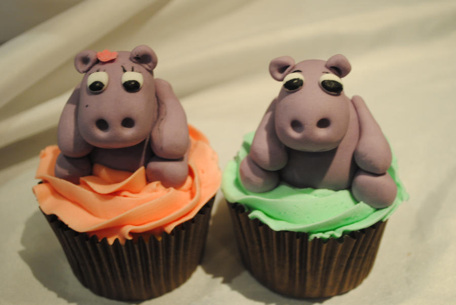 Hippo cupcakes by starry design studio on DeviantArt