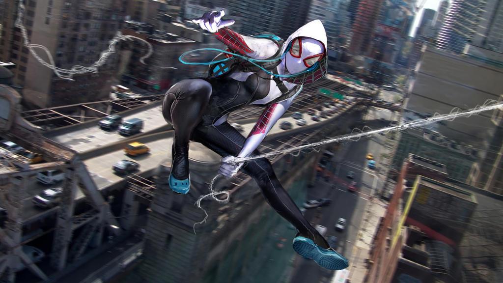 Spider Gwen-web Slinging-marvel-art-(8213) by Trident346