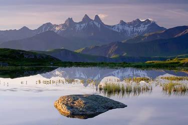 Lake and the Arves Peaks