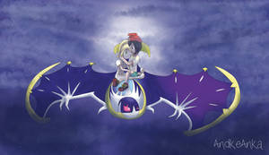 Moon x Lillie Flying on Lunala by AndkeAnka