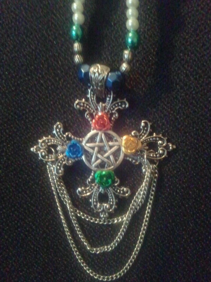 The rose pentacle cross by WyckedDreamsDesigns