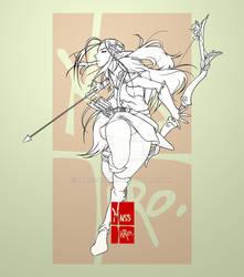 Elven Archer - lineart