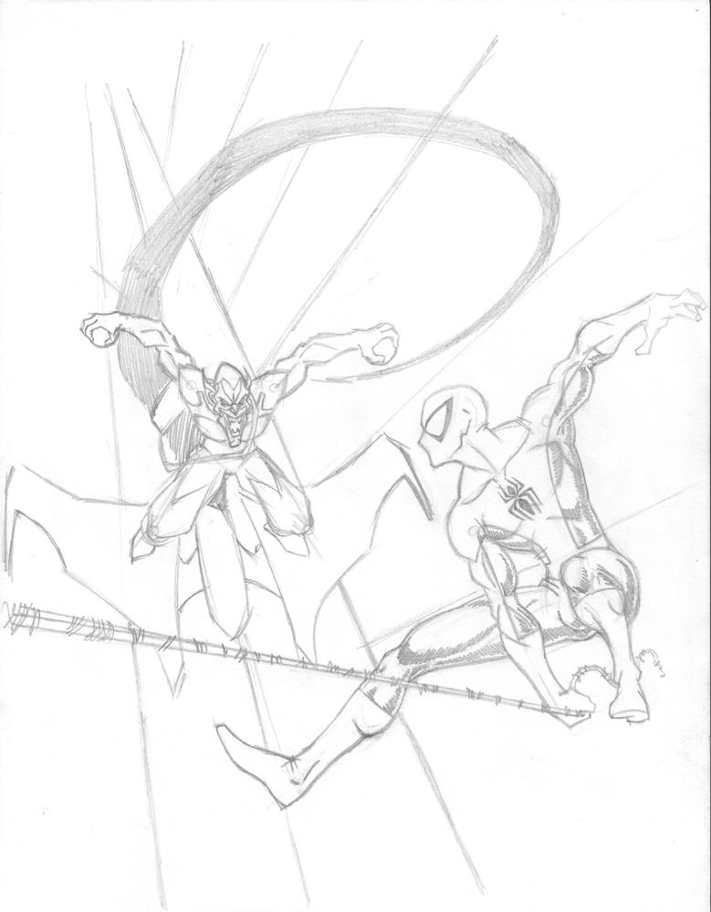 How to draw green goblin for Spiderman vs green goblin coloring pages