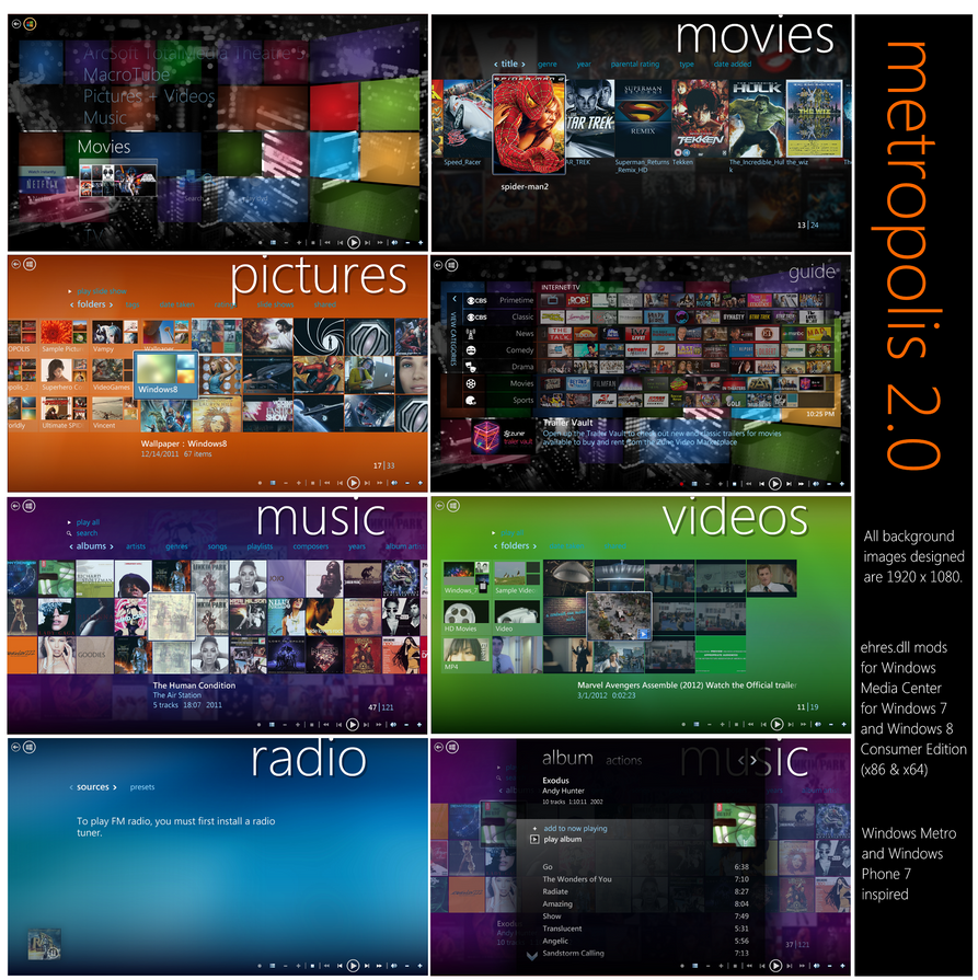 metropolis 2.0 - Windows Media Center Mod by octogonpc