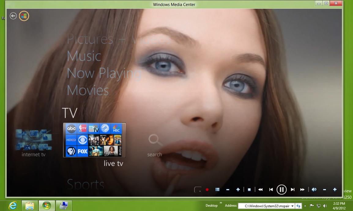 WMC metropolis 2.0 Theme in Windows 8 CP by octogonpc