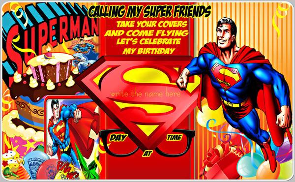 SUPERMAN birthday invitation theme by TinaDaBulle on DeviantArt