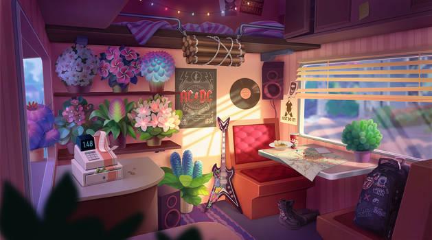Flower seller. Interior