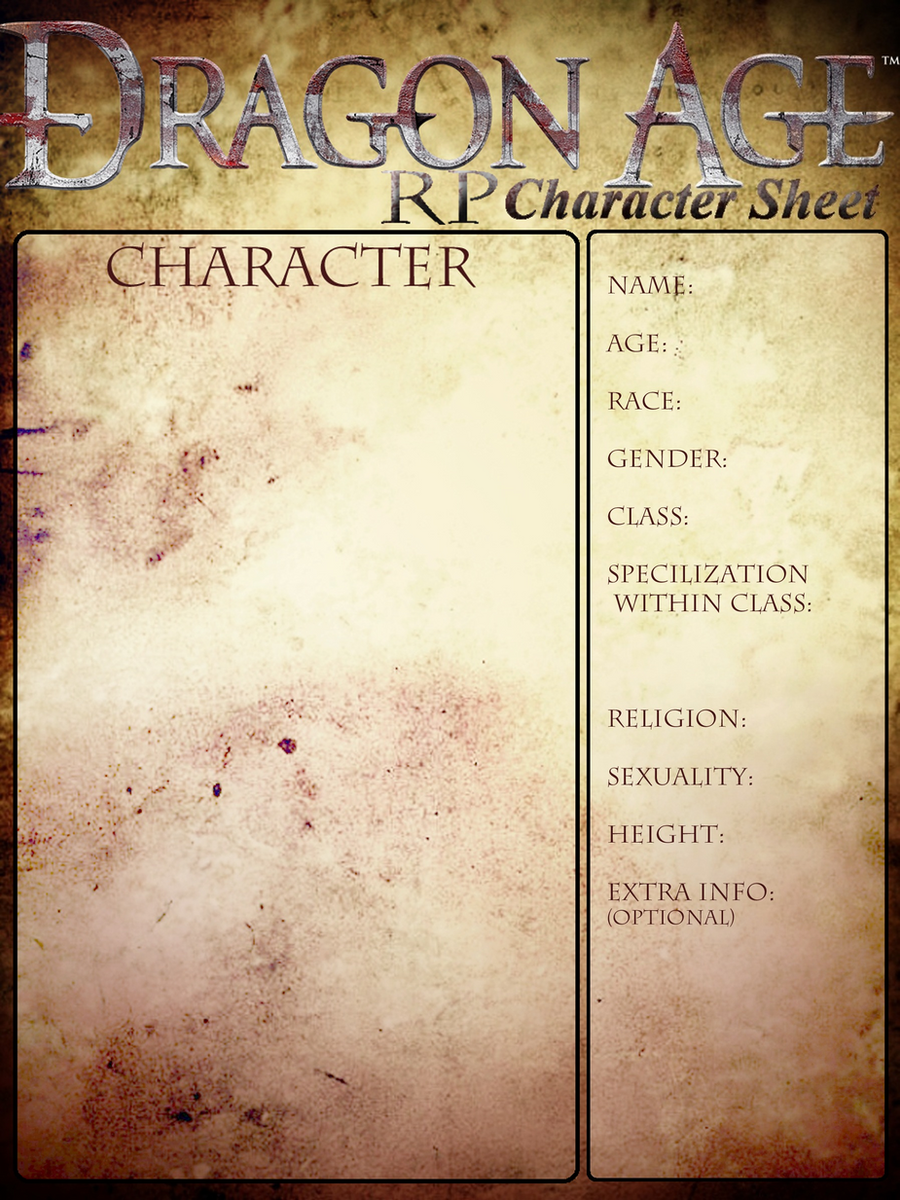 character sheet for dragon age rp group by halorawrs on deviantart