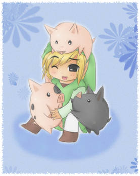 WW Link and pigs x3 by Midna01