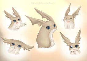 Patamon and his many faces by Midna01