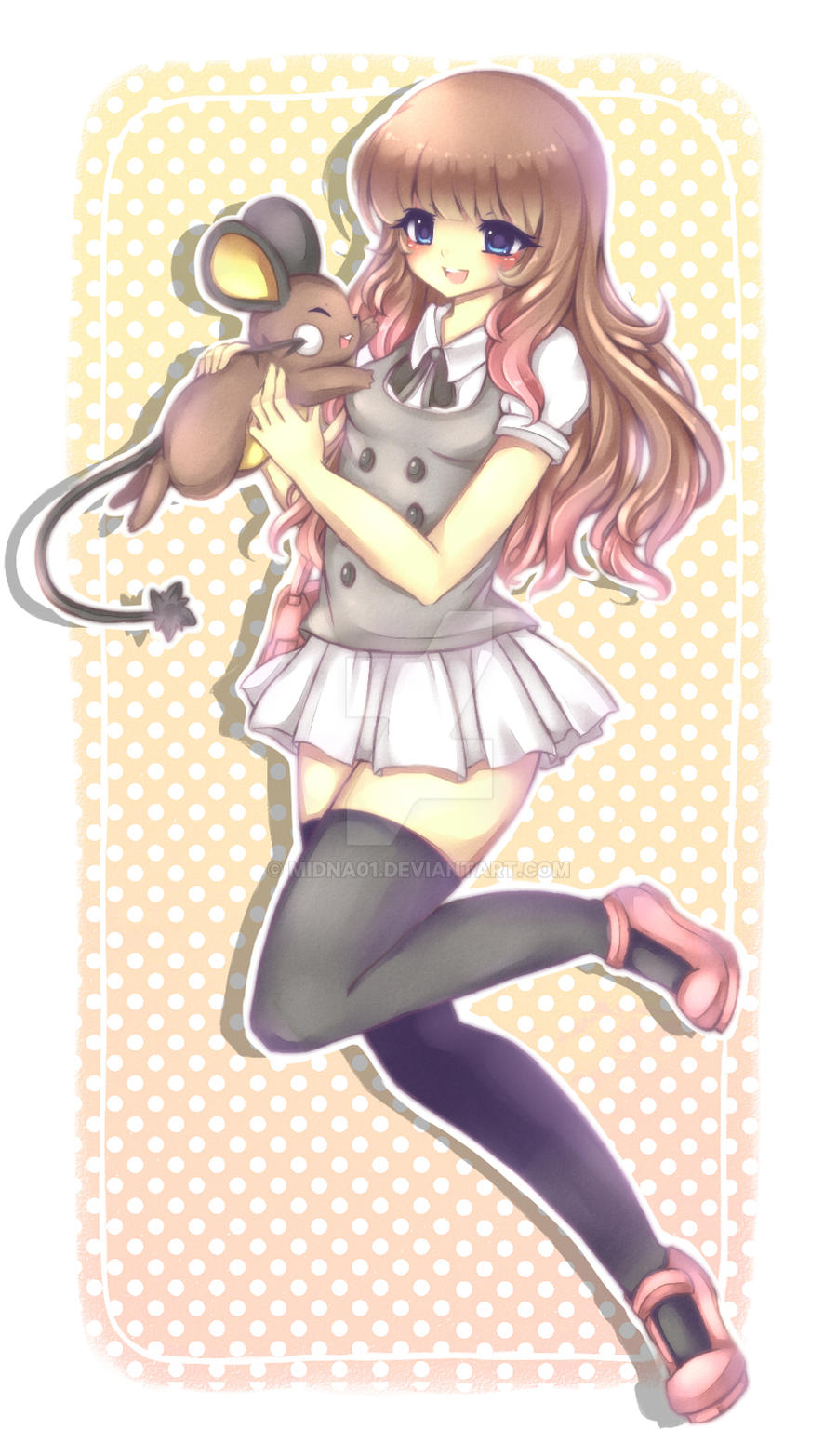 Holly and her Dedenne by Midna01