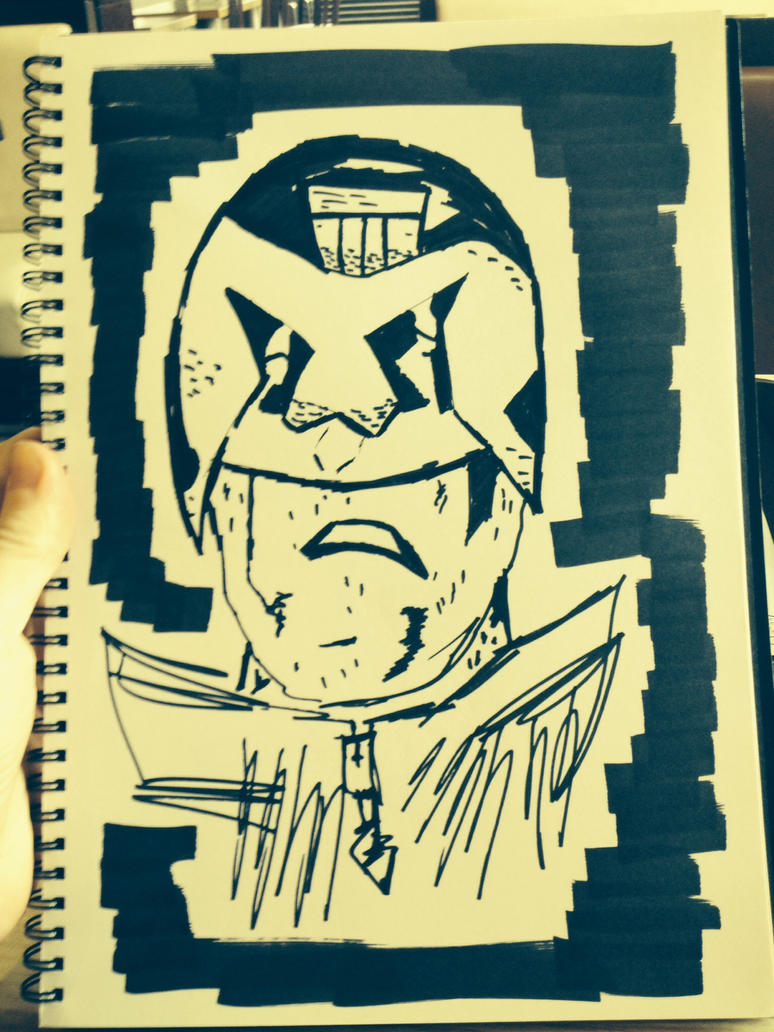 Inktober Dredd Head by Hawkmonger
