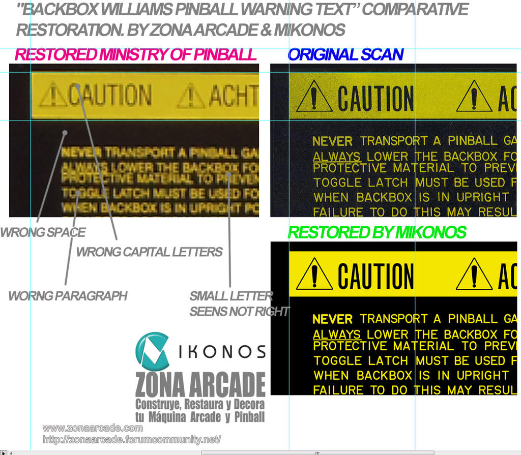 Backbox Williams Pinball Warning Text  In restorat by