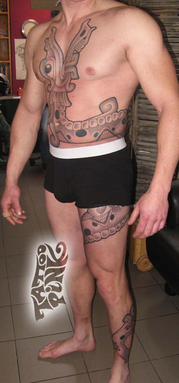 Freehand Quetzalcoatl Tattoo by tattoopink