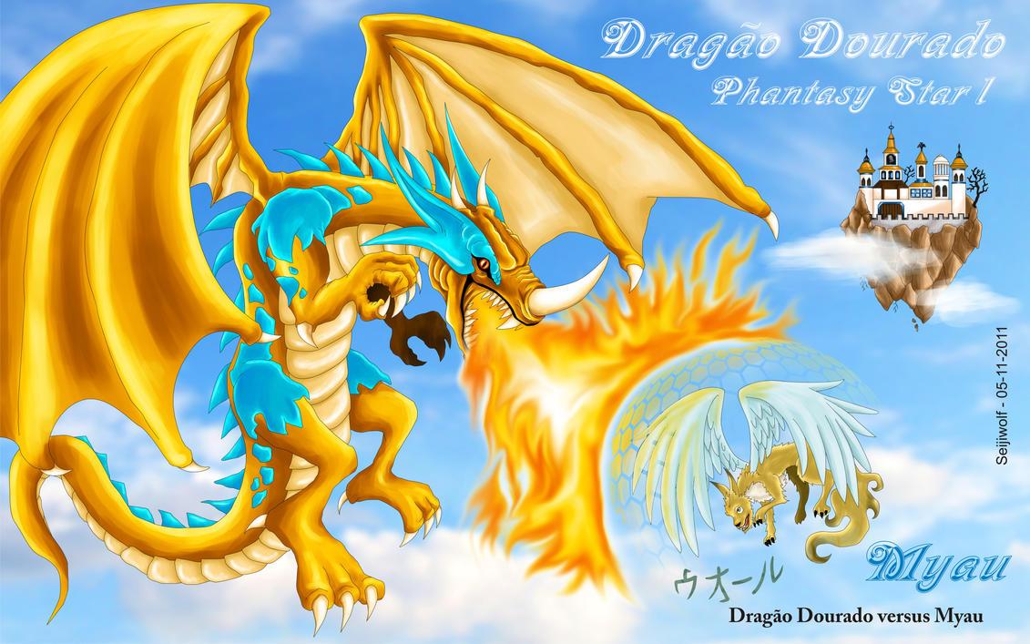 Myau versus Gold Dragon by seijiwolf