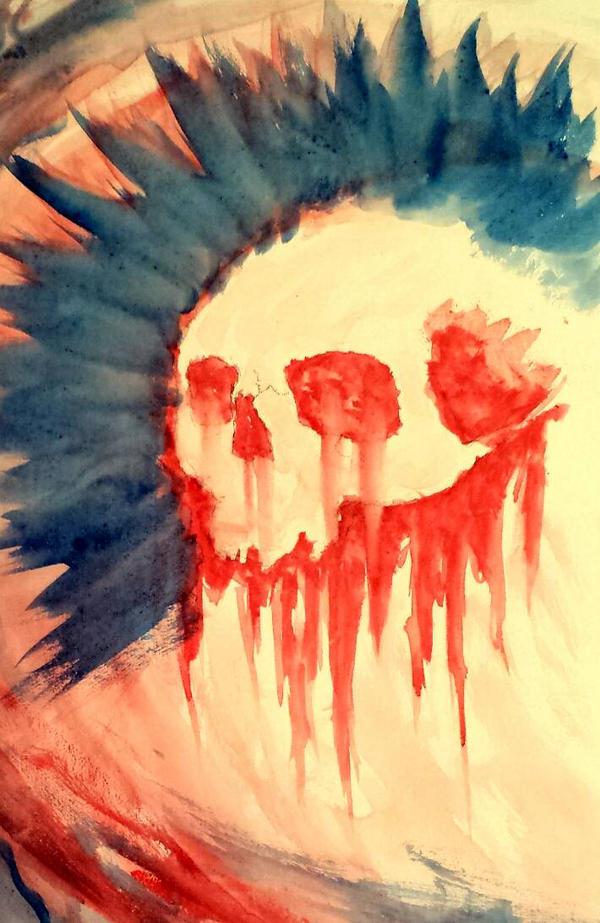 Watercolor Skull #2 by MetalMonsterDSN