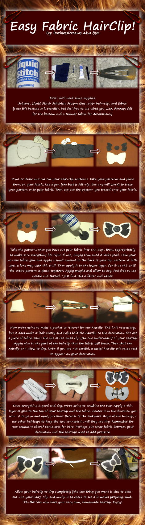 Easy Fabric Hair Clip Tutorial by RuthlessDreams