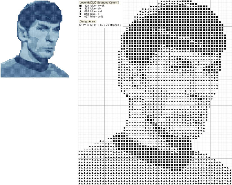 Mr. Spock Cross Stitch Pattern