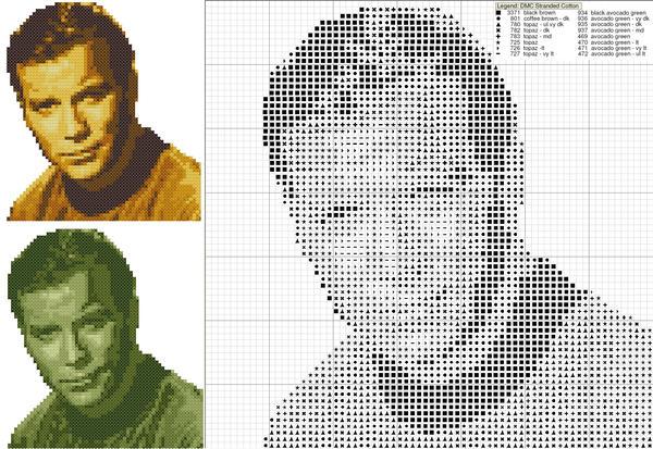 James T. Kirk Cross Stitch