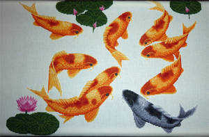 Blessing Fish - Cross stitch - WIP 5