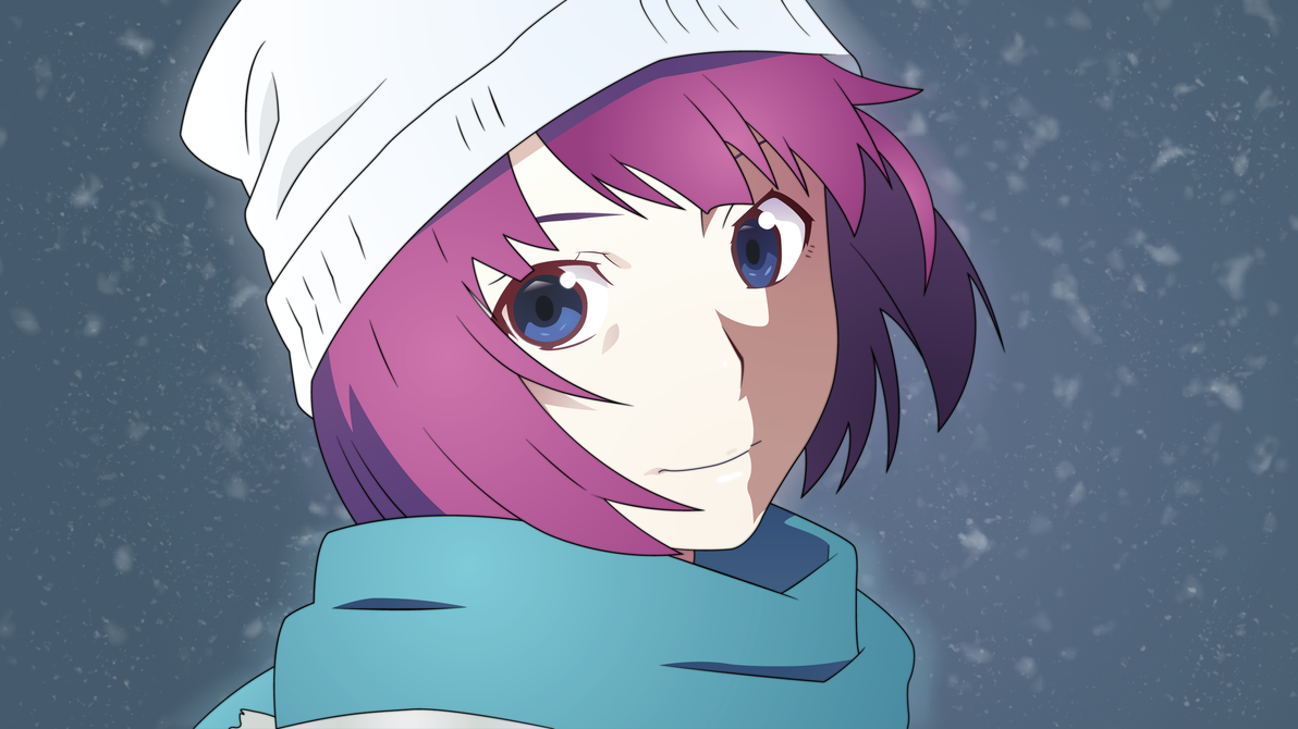 Anime Characters With Purple Hair : Senjougahara hitagi vector wallpaper blue by sn cks on