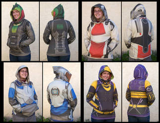 Mass Effect - Thane/Mordin/Garrus/Tali hoodies by Emmalyn