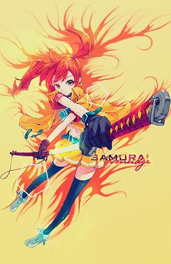 Orange Samurai Smudge by LightaGFX