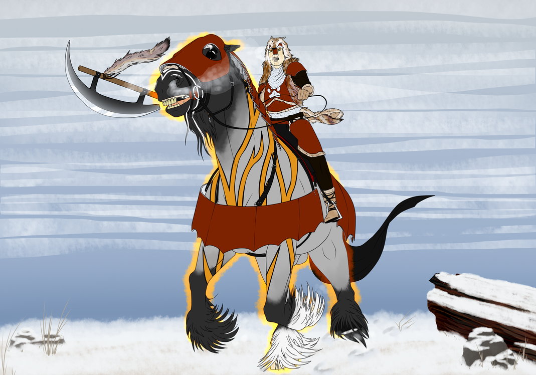 Mounted Combat by lionsilverwolf