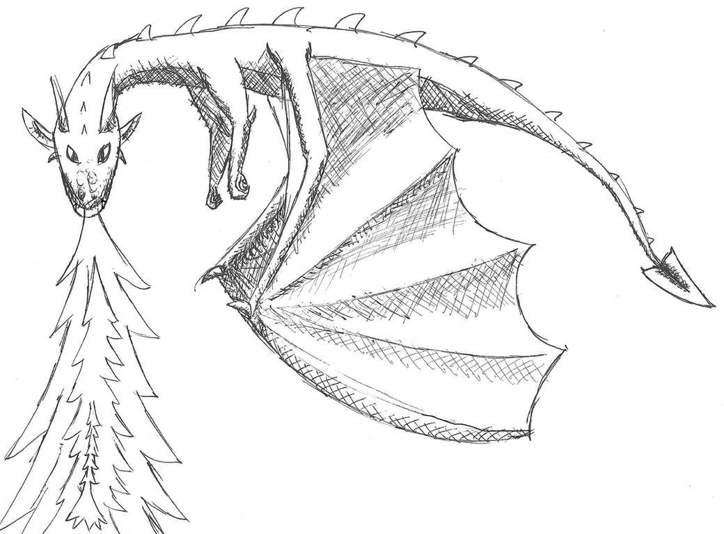 Dragon Head Breathing Fire Drawing Firebreathing Dragon Ink Sketch By  Thewolfsfriend