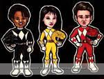 Power Ranger Magnets - Zack, Trini, Jason
