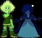 Peridot and Dark Blue Sapphire