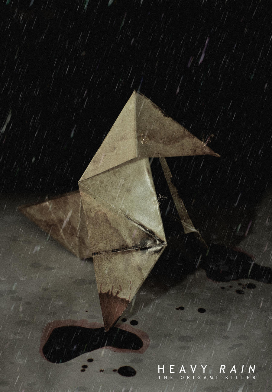 heavy rain origami by kidcactus on deviantart