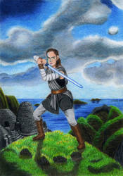 Rey on Ahch-To by Andrzej5056