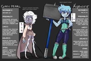 My Gemsonas: Kyanite and Grey Pearl (ref sheet) by alwexos