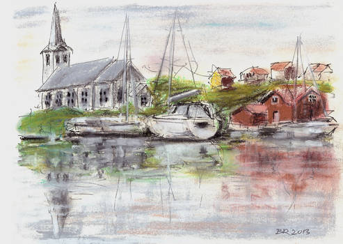 Fiskebackskil with church and sailboats