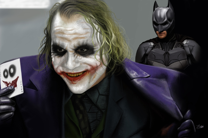 Speed painting Joker and batma by Daviddleonluis