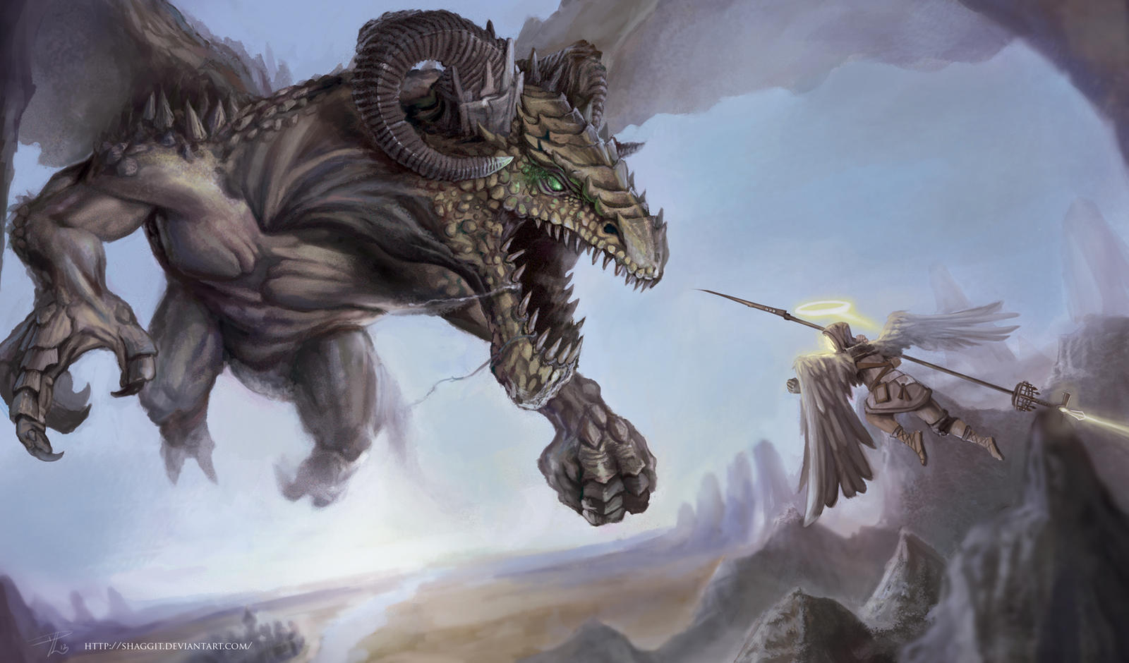 Dragon Vs Angel by Daviddleonluis