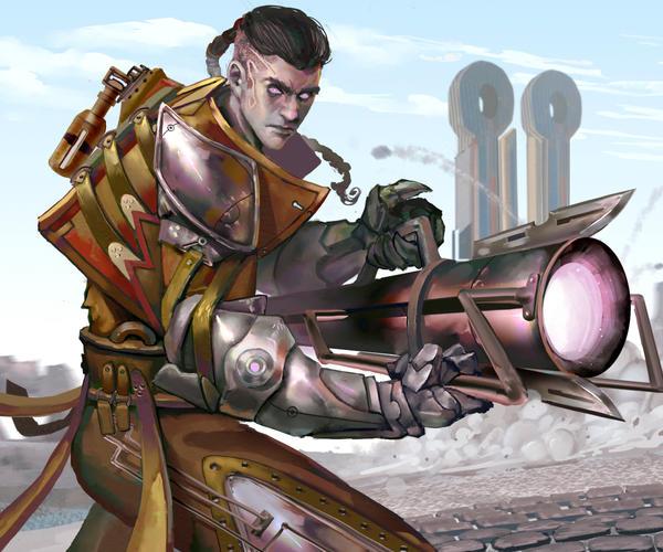 Outcast Odyssey Steampunk Bazooka Warrior entry 2 by Daviddleonluis
