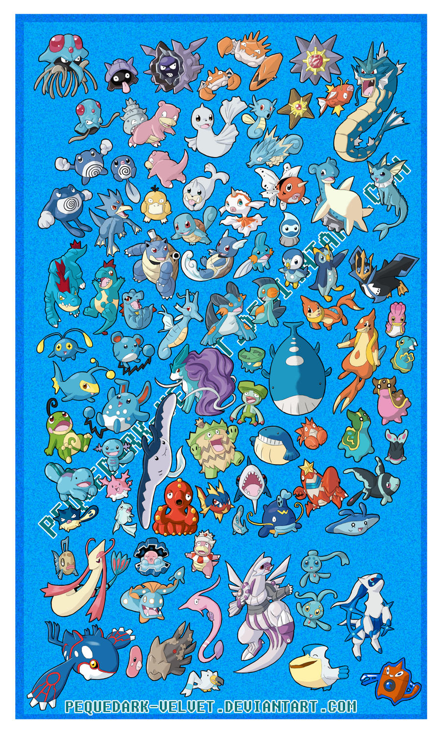 CHIBI POKEMON STICKERS: WATER by PEQUEDARK-VELVET on ... Wailord And Quagsire