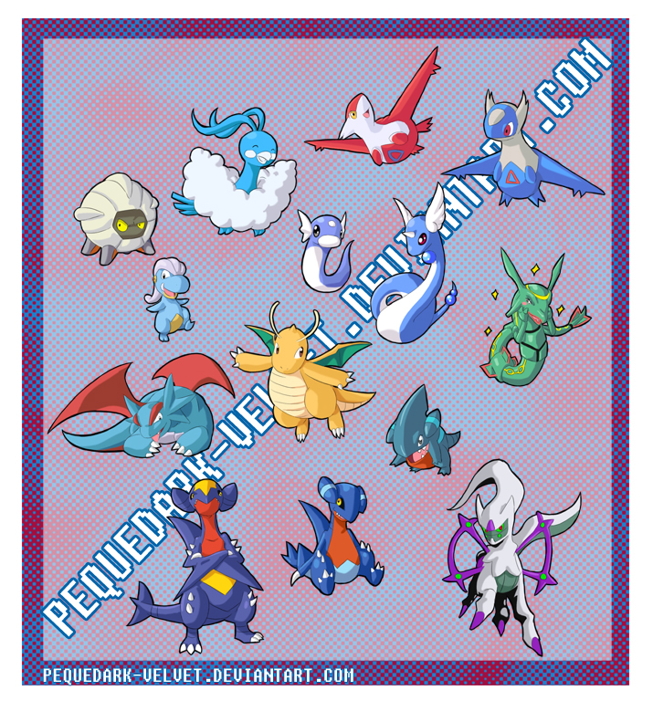 CHIBI POKEMON STICKERS: DRAGON by PEQUEDARK-VELVET