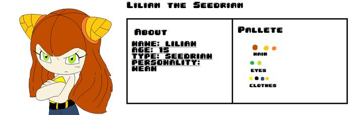Lilian the Seedrian ref sheet
