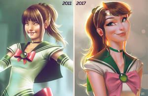 Sailor Jupiter Comparison 2011 vs 2017 by lenadrofranci