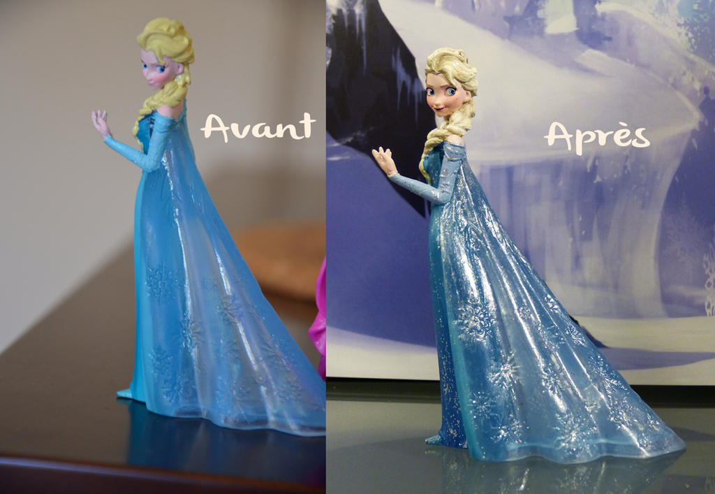 Elsa figurine frozen custom before after by laetiart on - Reine des neiges chambre ...