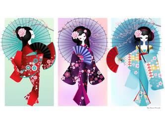 Origami Dolls Print by minercia