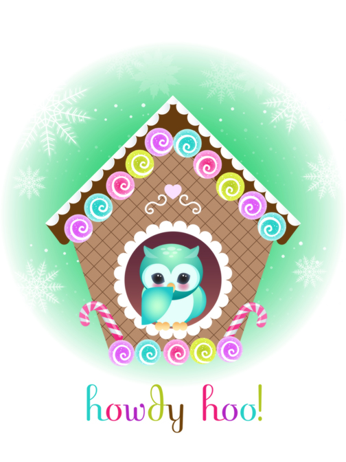 Owl Holiday card 4 by minercia