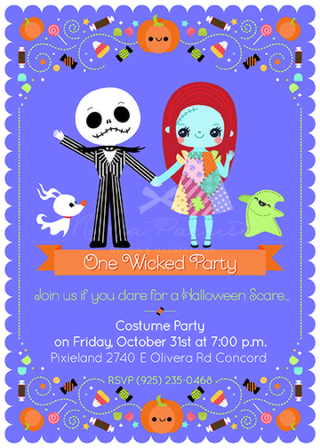 Nightmare Before Christmas Halloween Invitation By Minercia