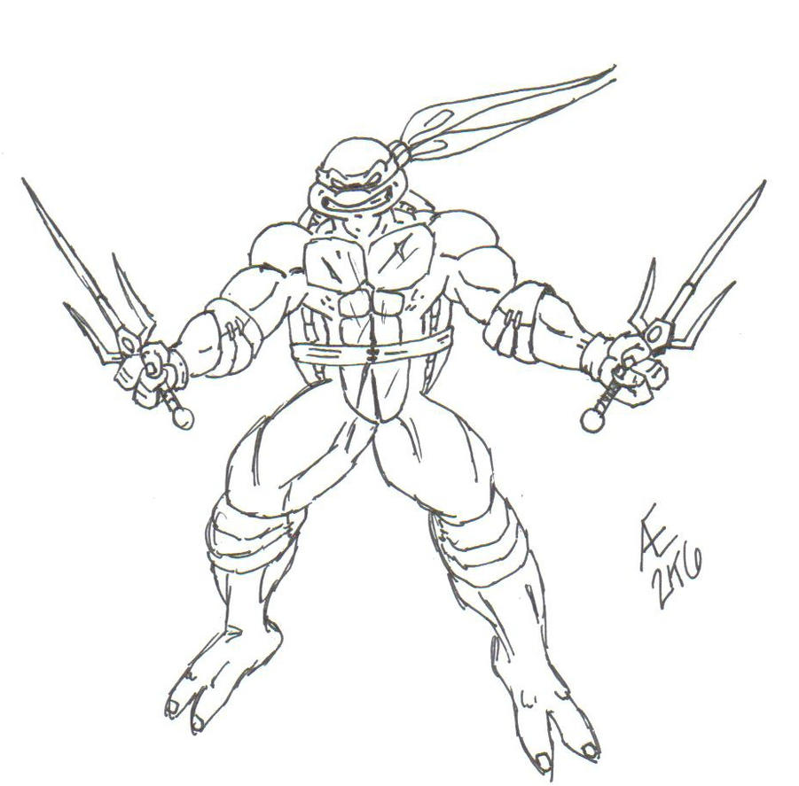 Raphael the ninja turtle by king taurus on deviantart for Raphael ninja turtle coloring pages