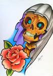 Oldschool Skull and Rose design